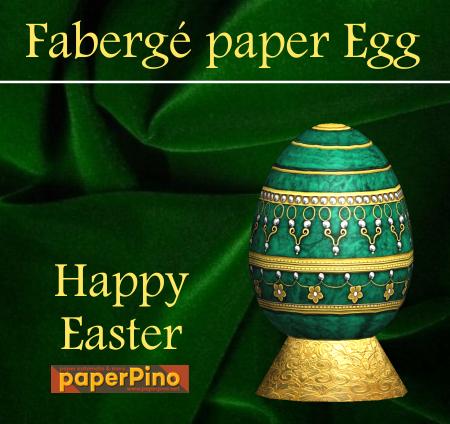 Papercraft imprimible y recortable de un Huevo de Pascua Verde y Dorado. Manualidades a Raudales.